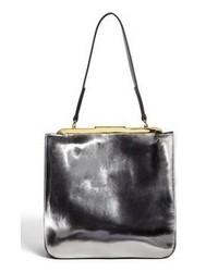 Серебряная кожаная большая сумка