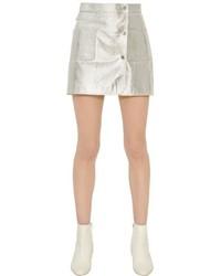 Серебряная кожаная мини-юбка
