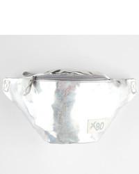 Серебряная кожаная поясная сумка