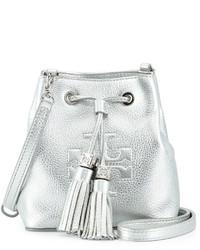 Серебряная кожаная сумка-мешок