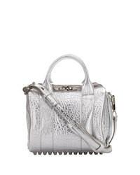 Серебряная кожаная сумка-саквояж