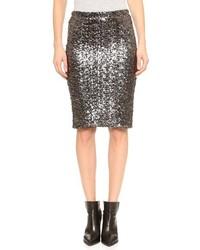 Серебряная юбка-карандаш с пайетками