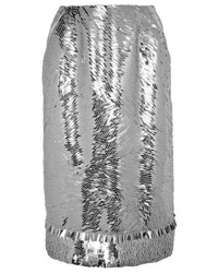 Серебряная юбка-карандаш с пайетками от Altuzarra