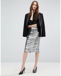 Серебряная юбка-карандаш с пайетками от Asos