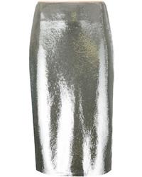 Серебряная юбка-карандаш с пайетками от Diane von Furstenberg