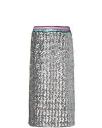 Серебряная юбка-карандаш с пайетками от Mary Katrantzou