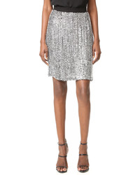 Серебряная юбка-карандаш с пайетками от Rodarte