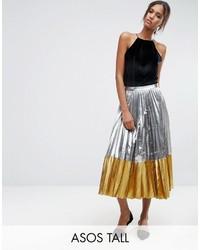 Серебряная юбка-миди со складками