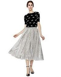 Серебряная юбка-миди с пайетками со складками
