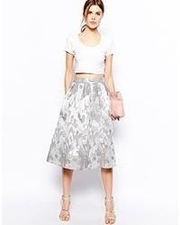 Серебряная юбка-миди с пайетками со складками от Asos
