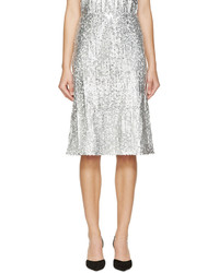 Серебряная юбка-миди с пайетками со складками от Nina Ricci