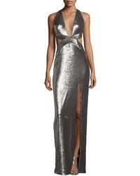 Серебряное вечернее платье с вырезом