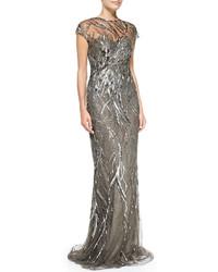 Серебряное вечернее платье с пайетками