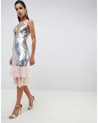 Серебряное облегающее платье с пайетками от ASOS DESIGN
