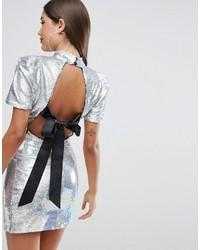 Серебряное облегающее платье с пайетками от Asos