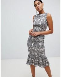Серебряное облегающее платье с цветочным принтом от Vesper