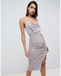 Серебряное облегающее платье от ASOS DESIGN