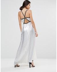 Серебряное платье-макси со складками от True Decadence
