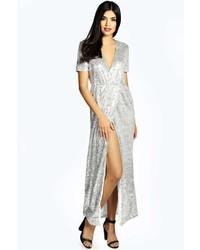 Серебряное платье-макси с пайетками