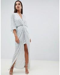 Серебряное платье-макси с пайетками от ASOS DESIGN