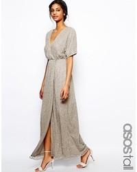 Серебряное платье-макси с пайетками от Asos