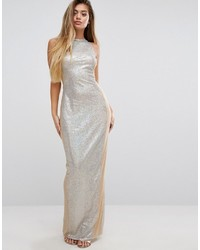 Серебряное платье-макси с пайетками от PrettyLittleThing