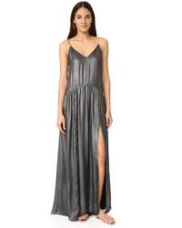 Женское серебряное платье-макси с разрезом от Jill Stuart
