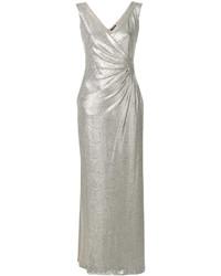 Серебряное платье-макси от Ralph Lauren