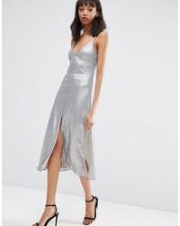 Серебряное платье-миди с пайетками от Asos