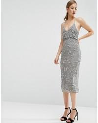 Женское серебряное платье-миди с пайетками от Asos
