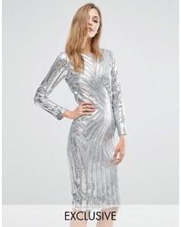 Женское серебряное платье-миди с пайетками от Club L