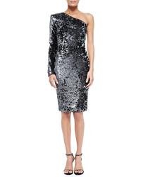 Серебряное платье-миди