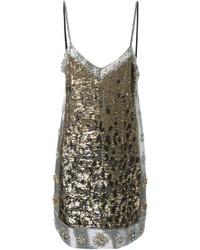 Серебряное платье прямого кроя с леопардовым принтом