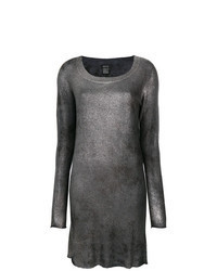 Серебряное платье-свитер