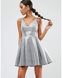 Женское серебряное платье с пышной юбкой от Asos