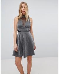 Серебряное платье с пышной юбкой от New Look
