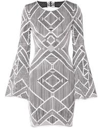 Серебряное платье-футляр с вырезом от Herve Leger
