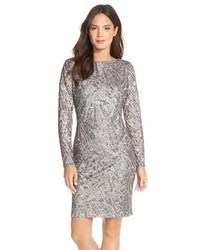 Серебряное платье-футляр с пайетками