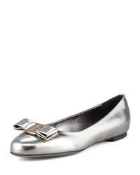 Серебряные кожаные балетки