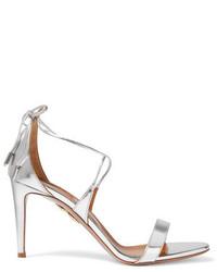 Женские серебряные кожаные босоножки на каблуке от Aquazzura