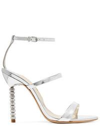 Женские серебряные кожаные босоножки на каблуке от Sophia Webster