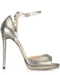 Женские серебряные кожаные босоножки от Jimmy Choo