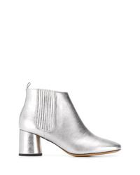 Серебряные кожаные ботильоны от Marc Jacobs