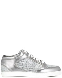 Женские серебряные кожаные кеды от Jimmy Choo