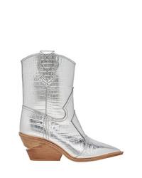 Женские серебряные кожаные ковбойские сапоги от Fendi