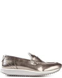 Серебряные кожаные лоферы на платформе