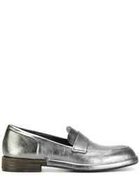 Серебряные кожаные лоферы