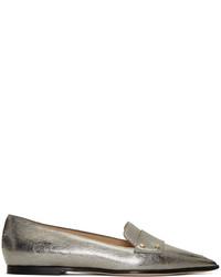 Женские серебряные кожаные лоферы от Jimmy Choo