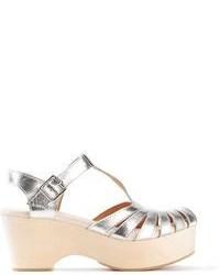 Серебряные кожаные массивные босоножки на каблуке