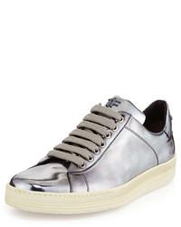 Серебряные кожаные низкие кеды